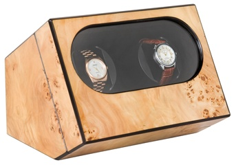 Double Watch Winder in Mapa Burl Wood with High Gloss Finish