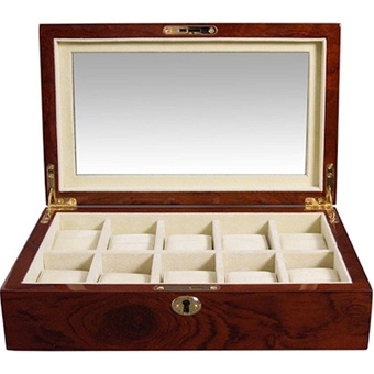 Wood Watch Box with Lock. Display Window and Storage for 10 Watches.