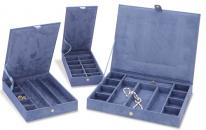 Stackable Jewelry Cases, Set of Three Anti Tarnish Jewelry Organizers