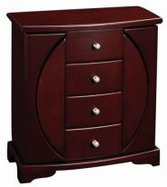 Refined Upright Jewelry Box Armoire with Necklace Doors