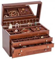 Brigitte Style Wood Jewelry Box in Walnut Finish