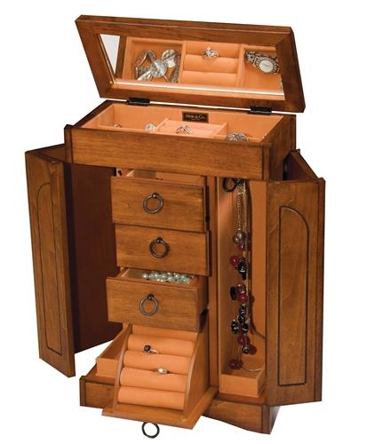 Antique Walnut Upright Jewelry Box Armoire Mele 00343S11