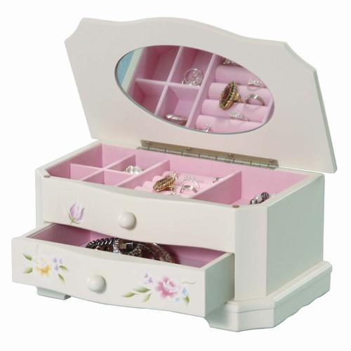 Handpainted White Wood Jewelry Box for Little Girls
