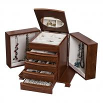 Unique European Walnut Jewelry Box Chest with Drawers and Necklace Sides