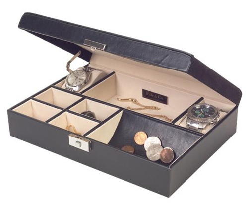 mens jewelry valet box black faux leather with handsome detail mele