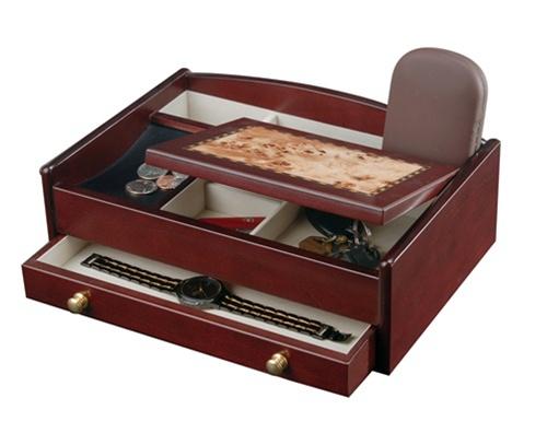 Men 39 S Wood Jewelry Valet Cherry Jewelry Box For Men