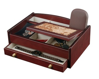 Men's Wood Jewelry Valet  Cherry Jewelry Box for Men Mele 687-11 670-11 Franco