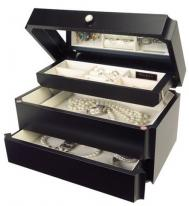 Ladies Java Wood Jewelry Box with Auto Tray & Mirrored Lid