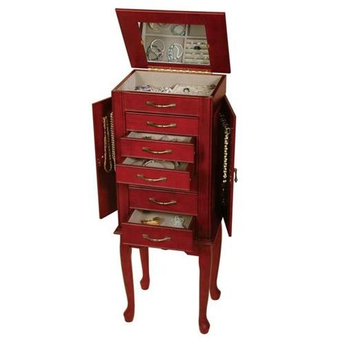 Locking Jewelry Armoire   Walnut Jewelry Box Lock Mele Caroline 888 11