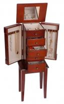 classic walnut floor standing jewelry box armoire