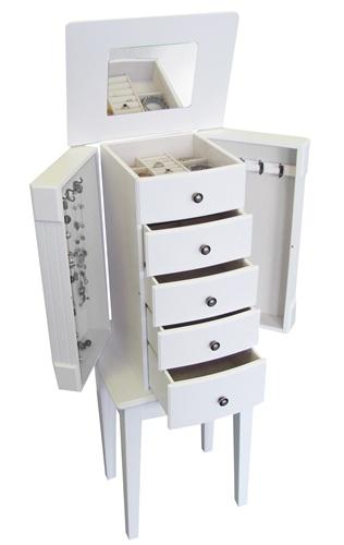 Superior White Floor Standing Jewelry Box Armoire