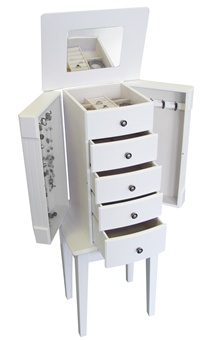 White Floor Standing Jewelry Box Armoire
