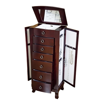 Tall Jewelry Box Cabinet for Women Cherry Finish