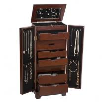 Front Opening Dark Walnut Standing Jewelry Armoire