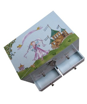 Princess Jewelry Box for Little Girls with Castle and Dancing Fairy