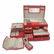 Red Leather Jewelry Travel Case by Morelle