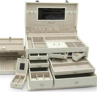 Soft White Leather Jewelry Box Trunk with Take Away Travel Cases