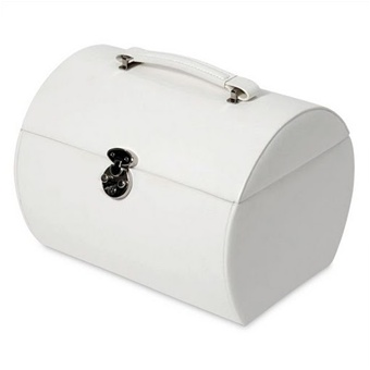 Classic White Leather Travel Jewelry Case with Lock