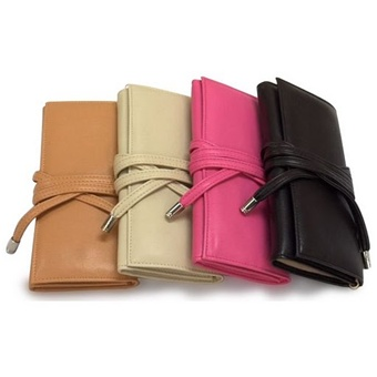 Fine Leather Travel Jewelry Clutch Case