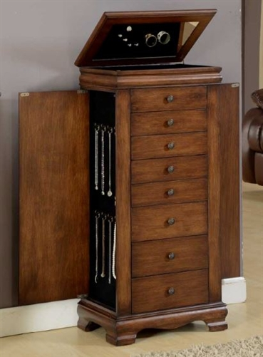 Antique Brown Large Locking Jewelry Cabinet