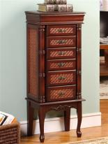Exotic Large Cherry Jewelry Armoire with Six Drawers