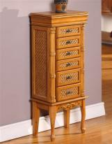 Exotic Large Oak Jewelry Armoire with Six Drawers