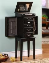 Black Jewelry Cabinet Armoire with Modern Details