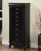 Large Black Antique Style Jewelry Armoire with 8 Drawers