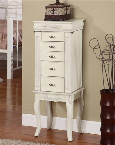 Lovely White Jewelry Armoire. Antique Style with Six Drawers