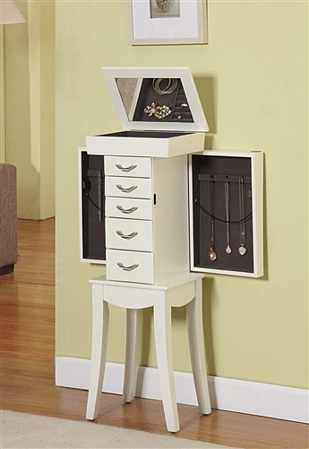 White Standing Jewelry Cabinet, Curved Detail