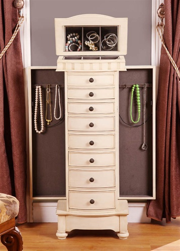 Superior Antique Beige Floor Standing Jewelry Box Cabinet With Eight Drawers