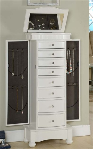 white floor standing jewelry box cabinet