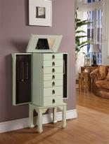 Ningbo Seven Drawer Rustic Green Jewelry Armoire