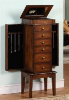Six Drawer Mahogany Jewelry Armoire