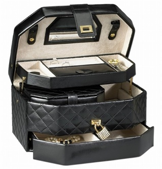 Black Leather Travel Jewelry Box  Jewelry Box Lock  RaGar BD606