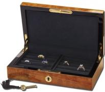 Bubinga Burl Wood Men's Jewelry Box, Watch & Cufflink Valet Case for Men