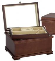 Light Walnut Jewelry Box with Mirrored Lid and Jewelry Tray