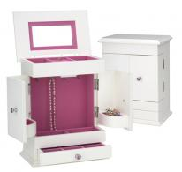 Bright White Jewelry Box Armoire with Hot Pink Lining for Girls