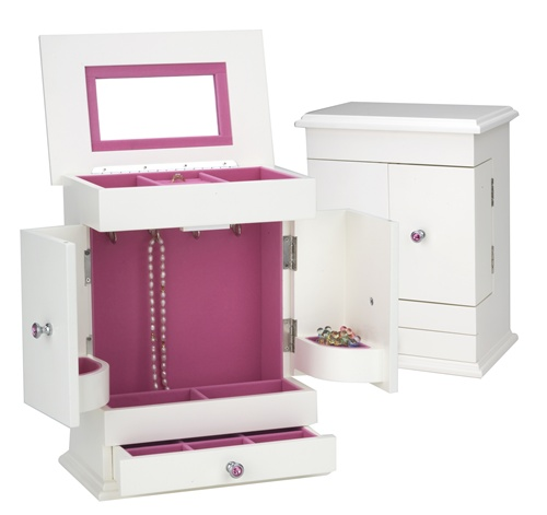 Bright White Jewelry Box Armoire with Hot Pink Lining
