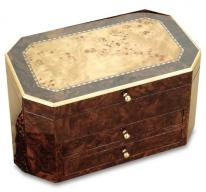 Walnut  Bird's Eye Maple Jewelry Box Chest