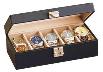 Leather Watch Box Locking Multiple Watch Holder Jewelry Case