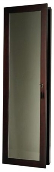 Espresso Wood Wall Hanging Jewelry Box Mirror Armoire. Mirrored Storage with Lock & Key.