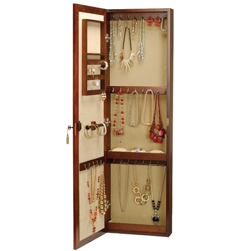 Wall Mount Jewelry Armoire Mirror locking wall mounted jewelry armoire mirror, large storage