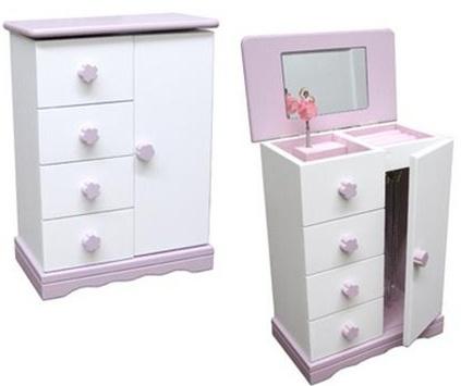 Jewelry Music Box Ballerina Armoire Wood White Pink