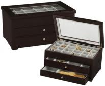 Contemporary Earring Jewelry Box with 46 Compartments, Glass Lid & Drawers.