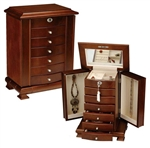 Wood Jewelry Box Armoire with Necklace Storage and Traditional Walnut Finish