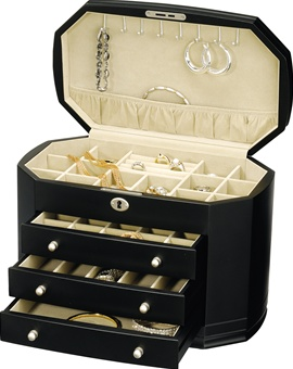 Classic Black Wood Jewelry Box Chest that Locks.
