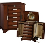 Tall Walnut Jewelry Box Armoire:Locking Necklace Jewelry Storage Box