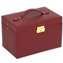 Faux Leather Jewelry Travel Train Case with Drawers and Bonus Mini