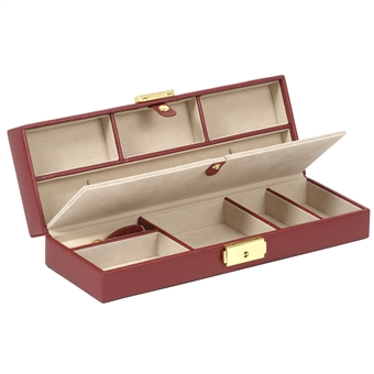 Safe Deposit Box Jewelry Storage and Travel Case Red